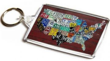 License Plates Map of America Jumbo Keyring. USA